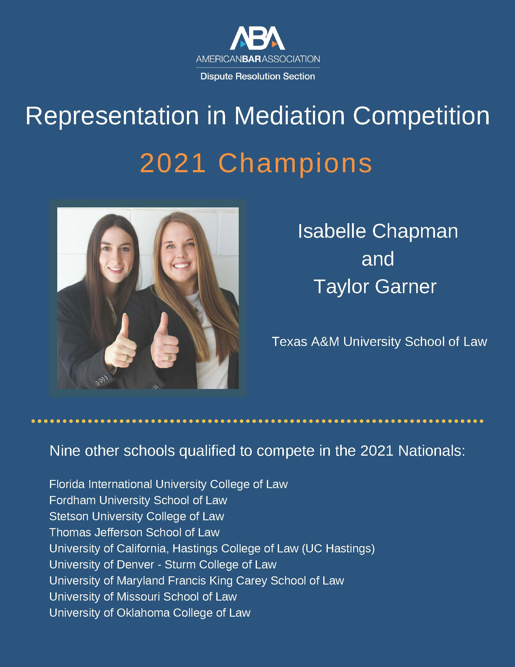 Representation in Mediation Competition 2021 Champions flyer